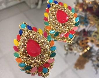 Indian multi colour teardrop pink studs