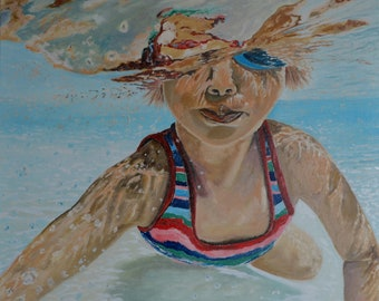 Original Oil Painting Diving Child  Portraits oil on canvas gift wall decor artwork