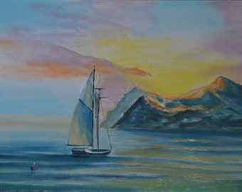 Digital Oil Painting Boat Landscape oil on canvas gift wall decor artwork boats print prints