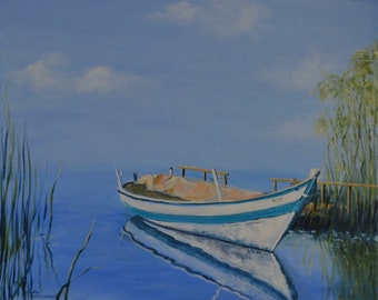 Original Oil Painting Boat Landscape Lake pier oil on canvas gift print wall decor artwork