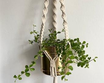 Macrame plant hanger in ivory white