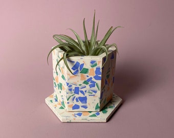 READY MADE |  Terrazzo planter & coaster set in spring brights | geometric plant pot