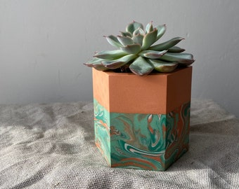 READY MADE | Marbled plant pot, hexagon planter in mint and coral orange