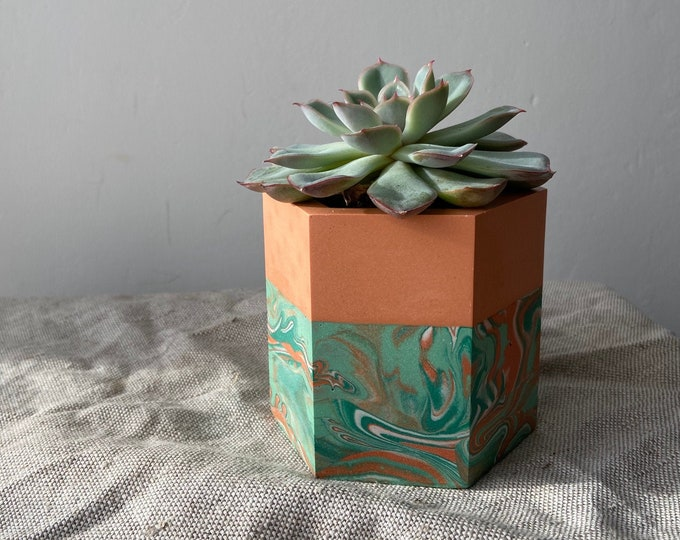 Featured listing image: READY MADE | Marbled plant pot, hexagon planter in mint and coral orange