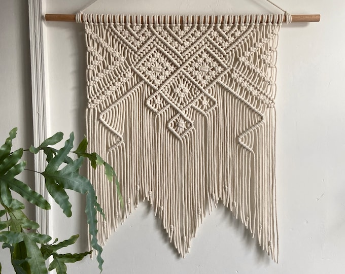 Featured listing image: Large modern macrame wall hanging in ivory, grey or mustard