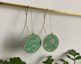 READY MADE | Terrazzo earrings in green | round drop earrings