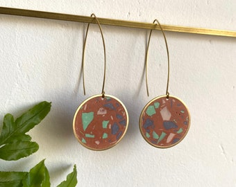 READY MADE | Terrazzo earrings in terracotta red | round drop earrings