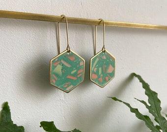 READY MADE    Terrazzo earrings in green   hexagon earrings