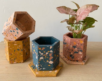Mix+Match terrazzo planter & coaster set, geometric plant pot