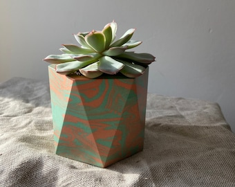 READY MADE | Marbled plant pot in tutti frutti | geometric planter