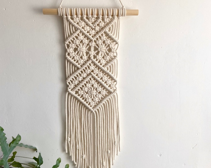 Featured listing image: Modern macrame wall hanging in ivory, grey or mustard