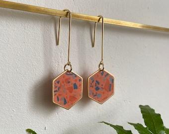 READY MADE | Terrazzo earrings in coral | hexagon earrings