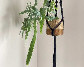 Modern macrame plant hanger in black cotton