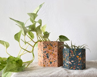Terrazzo plant pot in navy and pink | geometric planter