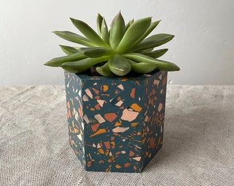 Terrazzo plant pot in navy blue | geometric planter