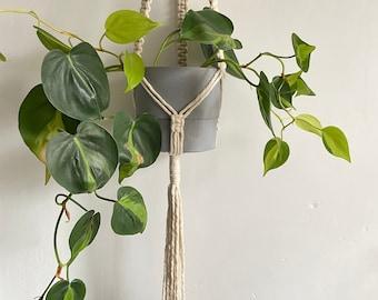 Modern macrame plant hanger in ivory white