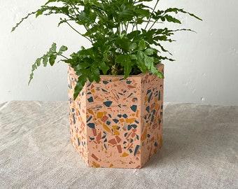 Large terrazzo plant pot in pink   geometric planter