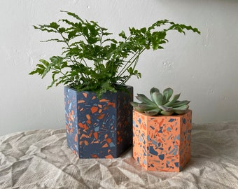Terrazzo plant pots in blue and coral | large plant pot | geometric planter