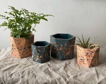 Terrazzo geometric plant pot in navy and pink   hexagon planter