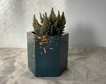 READY MADE | Terrazzo plant pot, hexagon planter in blue sprinkle