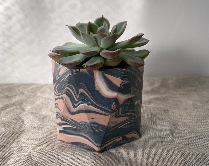 Featured listing image: READY MADE | Marbled plant pot | geometric planter