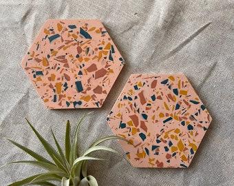 Terrazzo hexagon coaster set in pink
