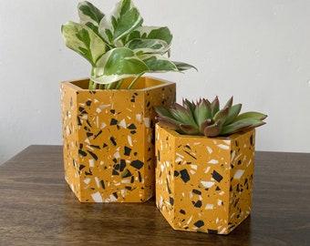 Terrazzo plant pots in mustard yellow | geometric plant pot