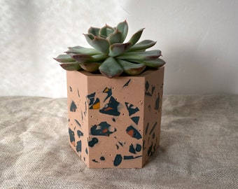 READY MADE | Terrazzo planter plant pot in dusty pink