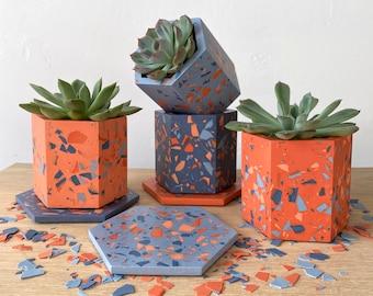 Mix+Match terrazzo planter & coaster set in Carnival, geometric plant pot