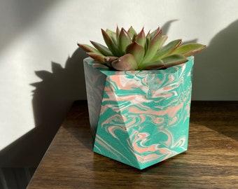 Marbled turquoise geometric plant pots | hexagon planters