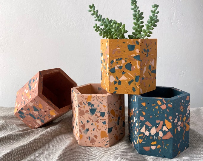 Featured listing image: Terrazzo planter geometric plant pot