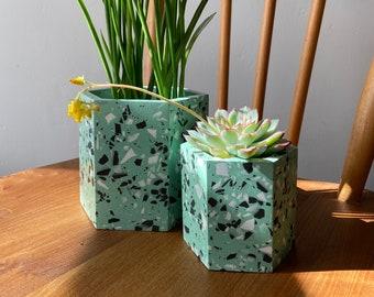 Terrazzo plant pots in mint green | geometric plant pot
