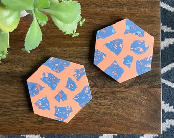 READY MADE |  Hexagon terrazzo coaster set in coral and blue