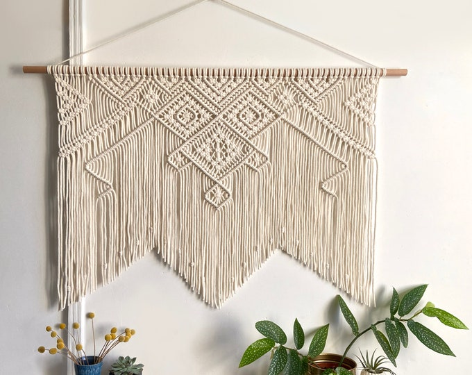 Featured listing image: X-Large modern macrame wall hanging in ivory | wide macrame wall hanging