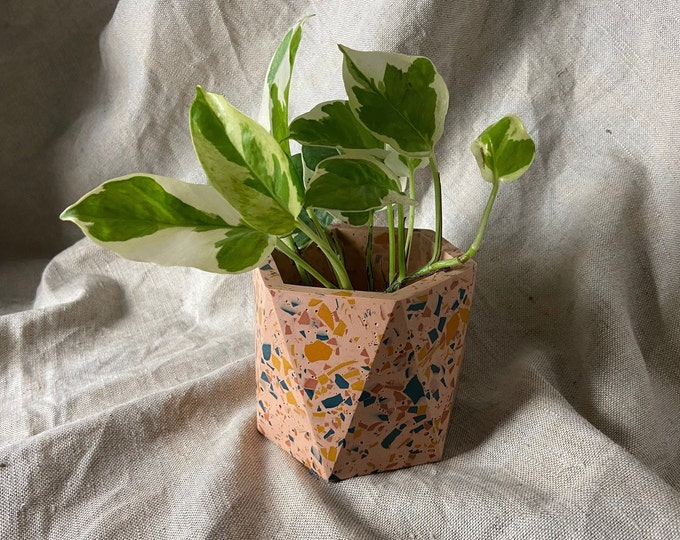 Featured listing image: Terrazzo geometric plant pot in pink | large hexagon planter