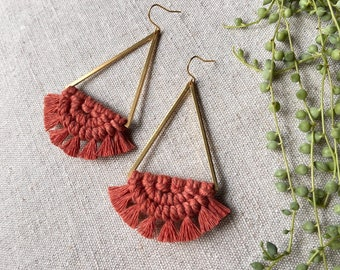 Macrame and brass large triangle earrings in terracotta