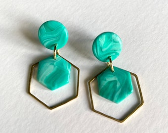 READY MADE |  Hexagon drop earrings in mint green