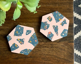 READY MADE |  Hexagon coaster set in pink and navy terrazzo
