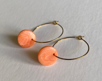 READY MADE |  Simple hoop earrings with marbled coral drops