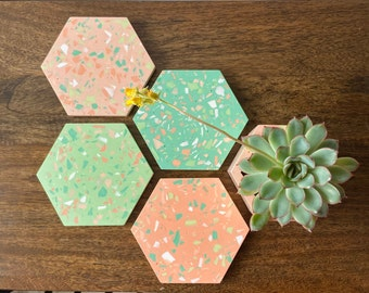Terrazzo hexagon coaster set in green and peach