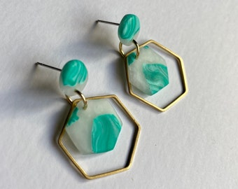 READY MADE |  Hexagon drop earrings in mint green and white