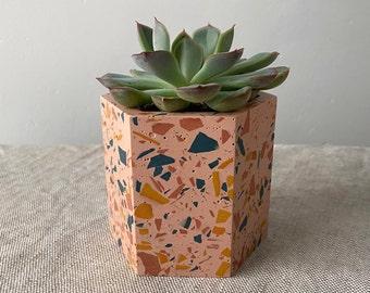 Terrazzo plant pot in pink | geometric planter