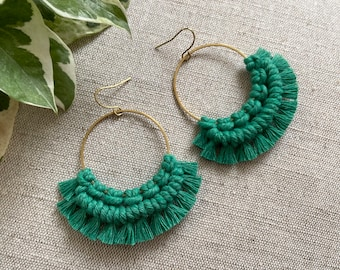 Macrame and brass earrings - pick your colour