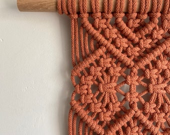X-Large modern macrame wall hanging in terracotta red