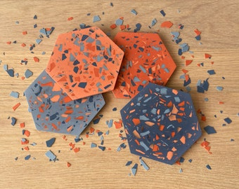 Terrazzo coasters in Carnival | colourful coasters | coaster set
