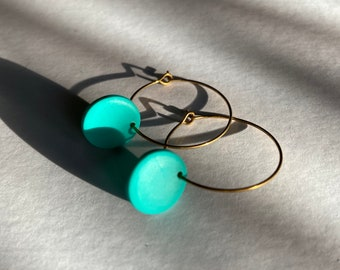 READY MADE |  Simple hoop earrings with turquoise drops