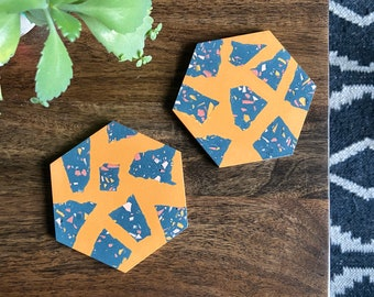 READY MADE |  Hexagon coaster set in mustard yellow and navy terrazzo