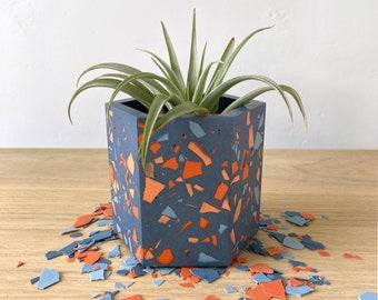 Terrazzo plant pot in Carnival Blue   geometric planter