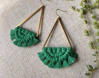 Macrame and brass large triangle earrings in green