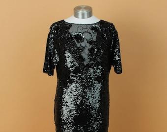 Vintage Black Sequined Dress